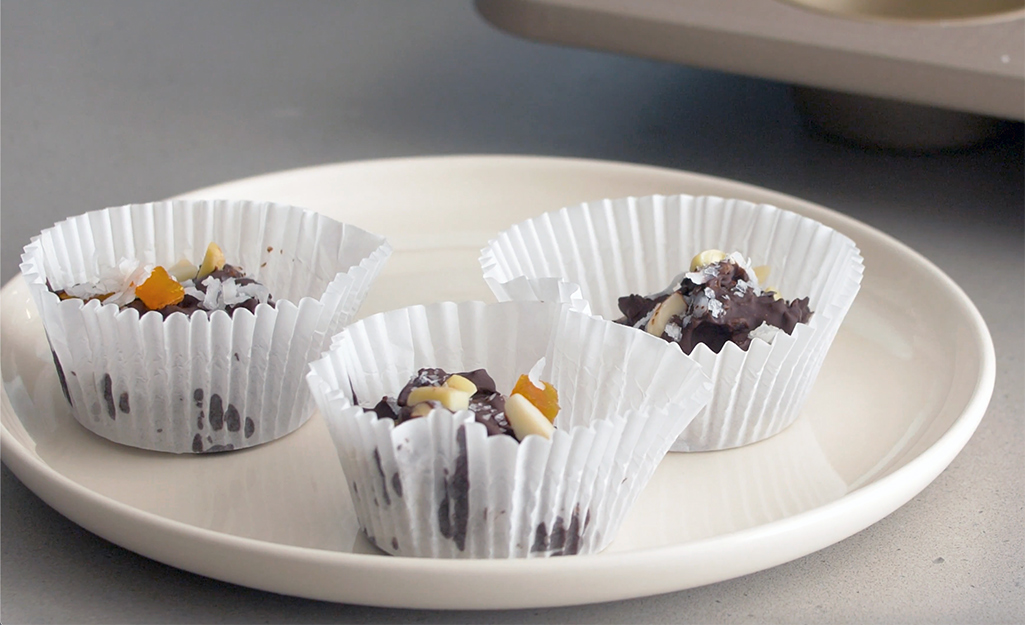 No-bake chocolate treats that were made in a muffin pan.