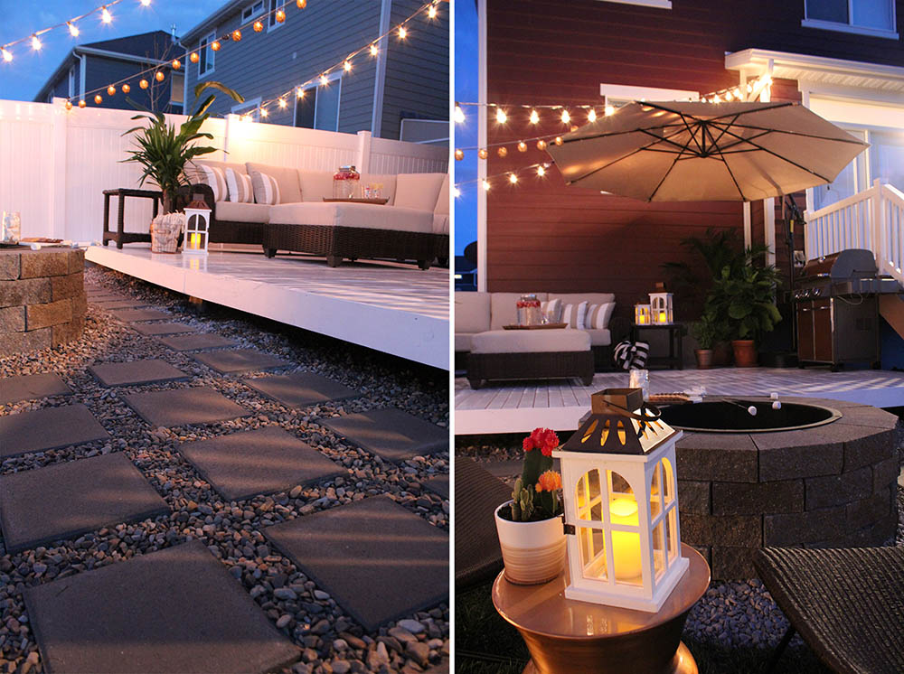 A side by side view of where the patio meets the deck and a lantern on an outdoor table in front of a fire pit.