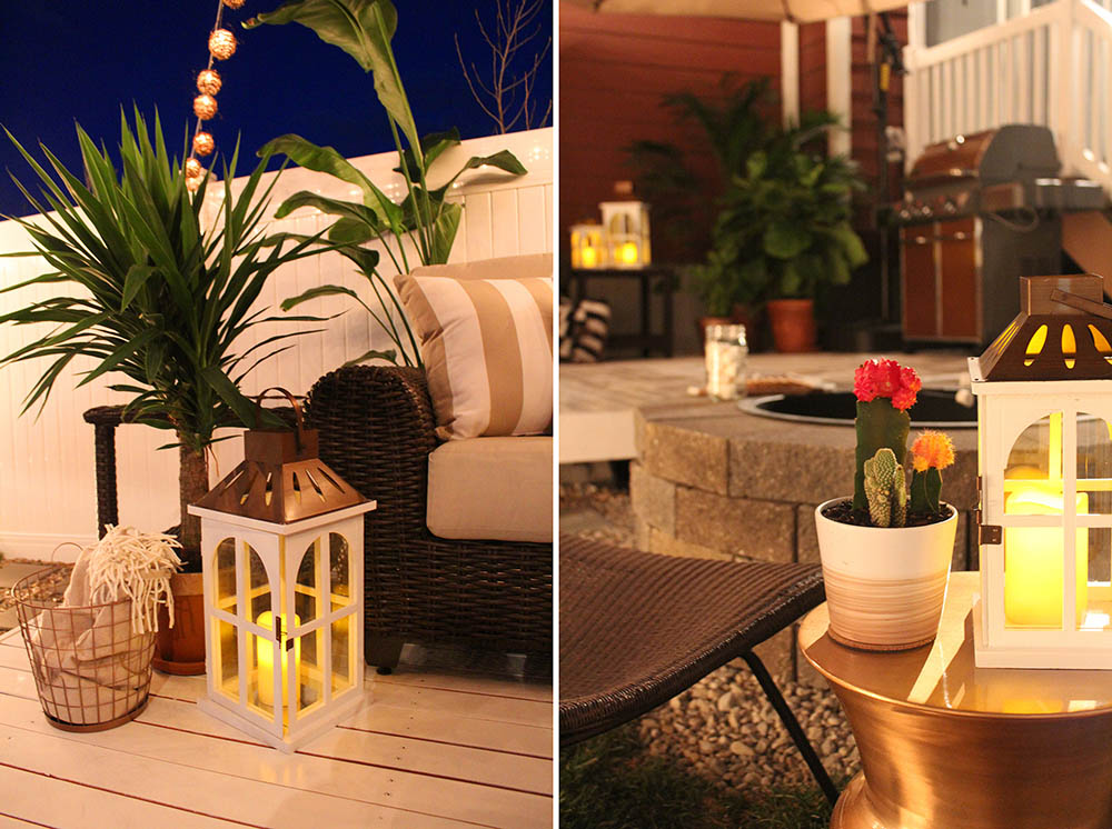 A side by side view of white lanterns adding light to the fire pit area and the patio area.