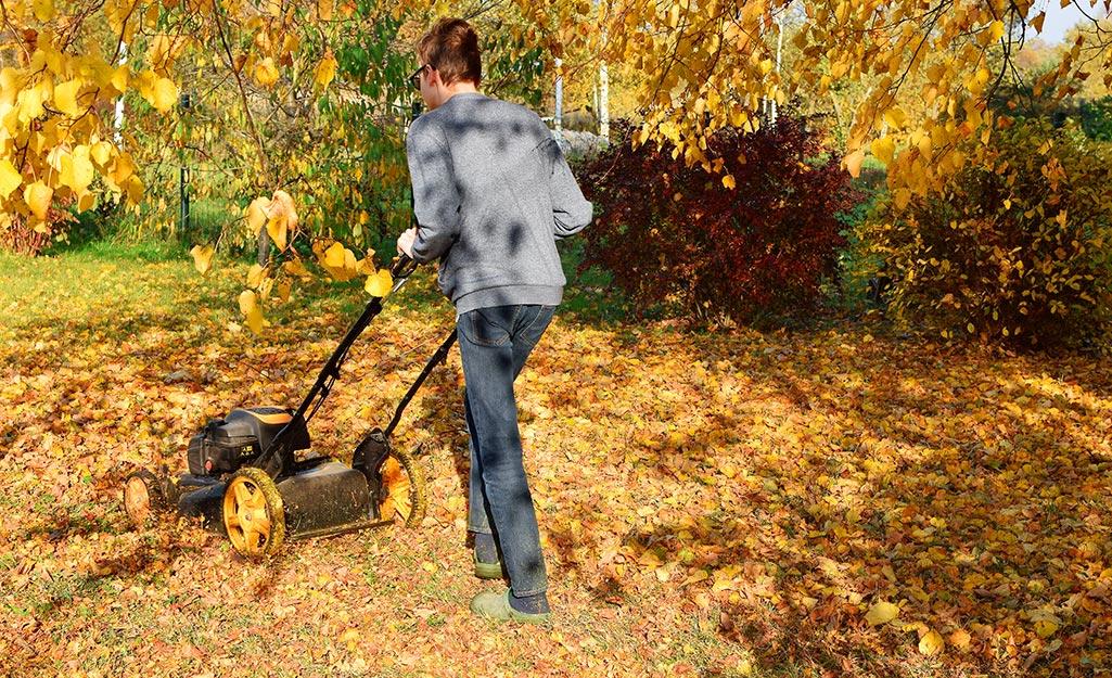 A man uses a mulching mower.