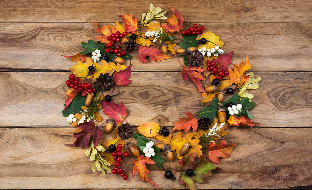 A wreath made of leaves.