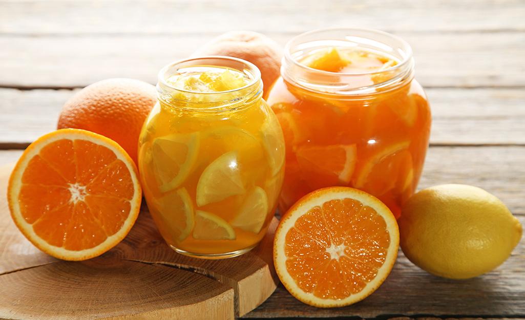 Jars of lemon and orange preserves