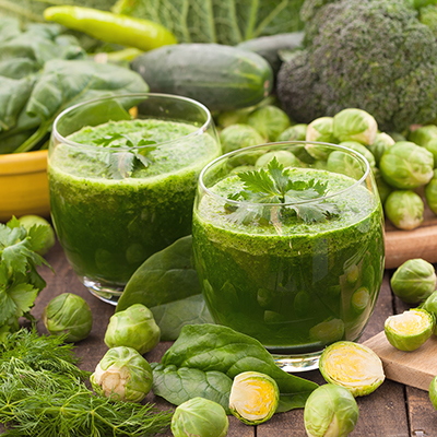 Glasses of green smoothie
