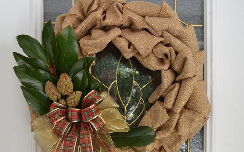 Magnolia and Burlap Wreath