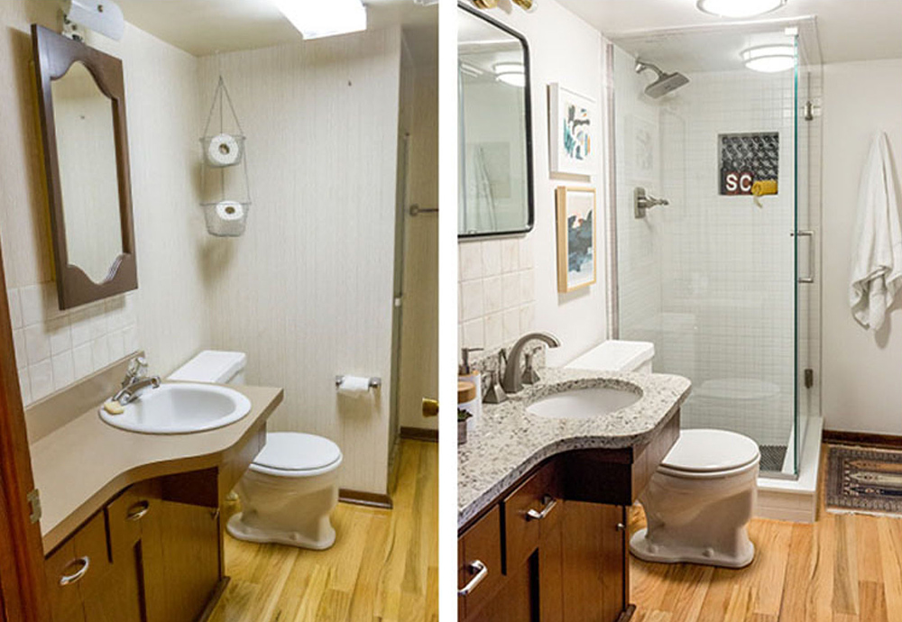 A side-by-side comparison of two bathrooms.