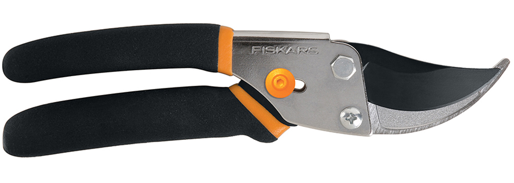 Fiskars bypass pruners on a white background.