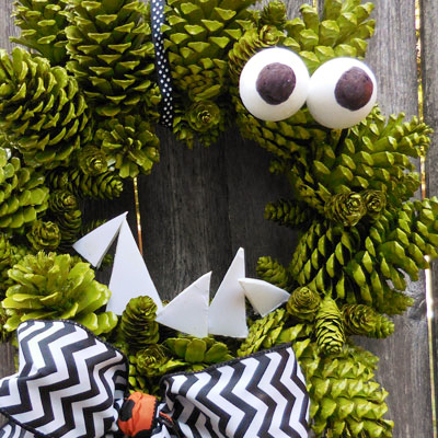Make a Fun Pinecone Wreath for Halloween