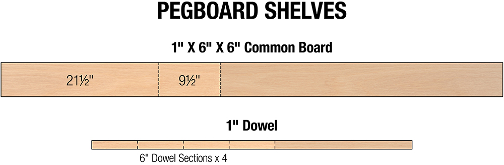A cut list for the DIY pegboard shelves project.