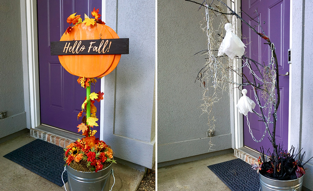 How To Build A Decorative Fall Topiary The Home Depot