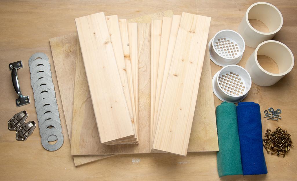 Materials for a DIY washer toss set.