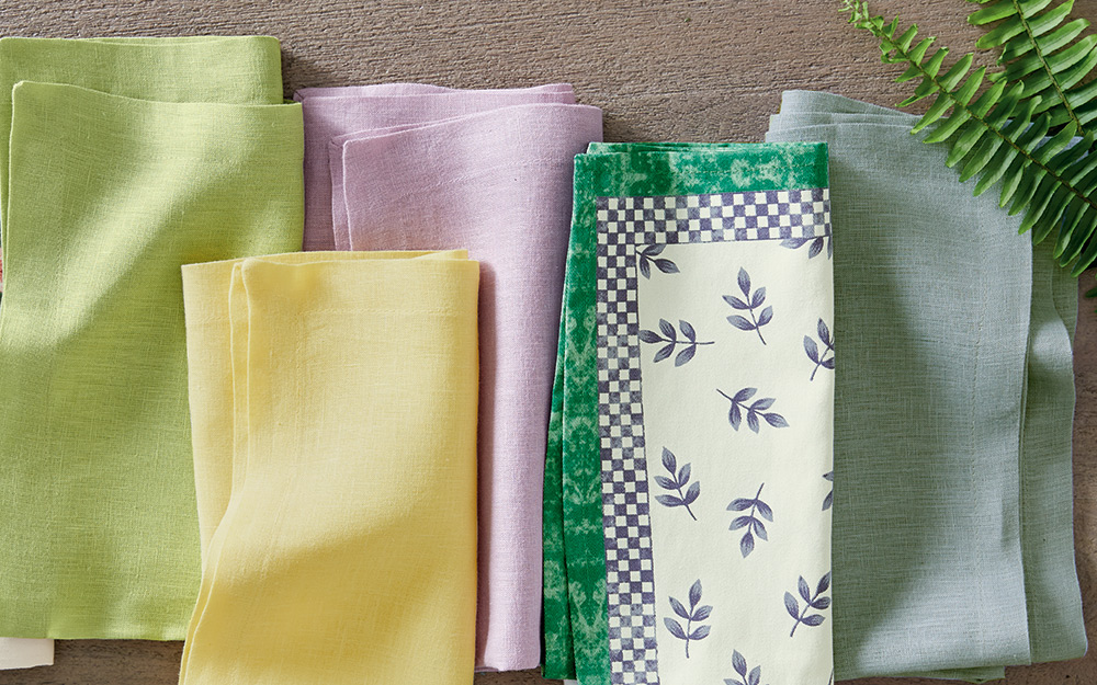 A collection of brightly-colored cloth napkins