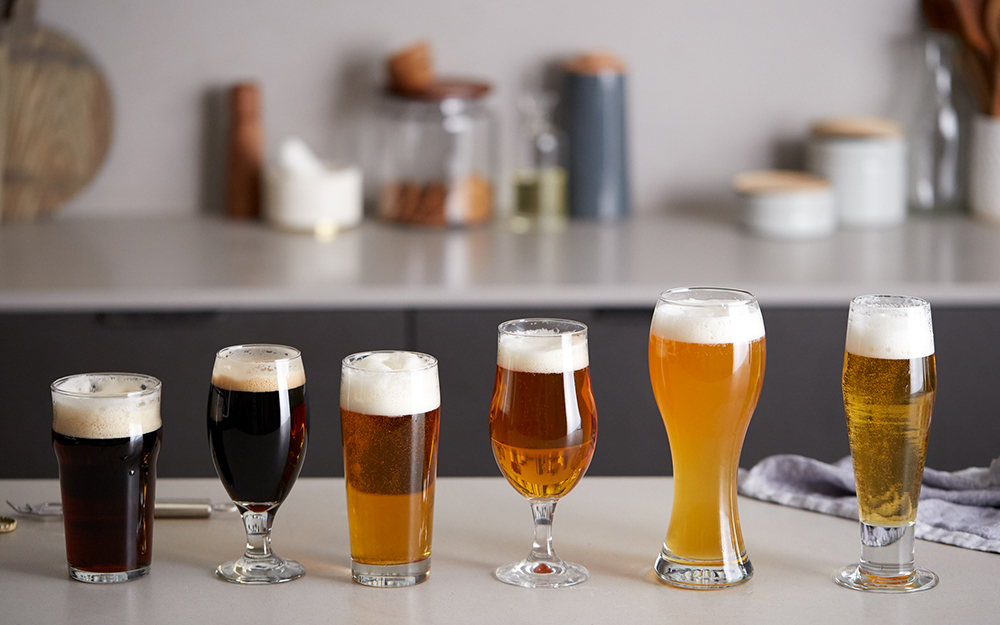An assortment of different beer glass types.