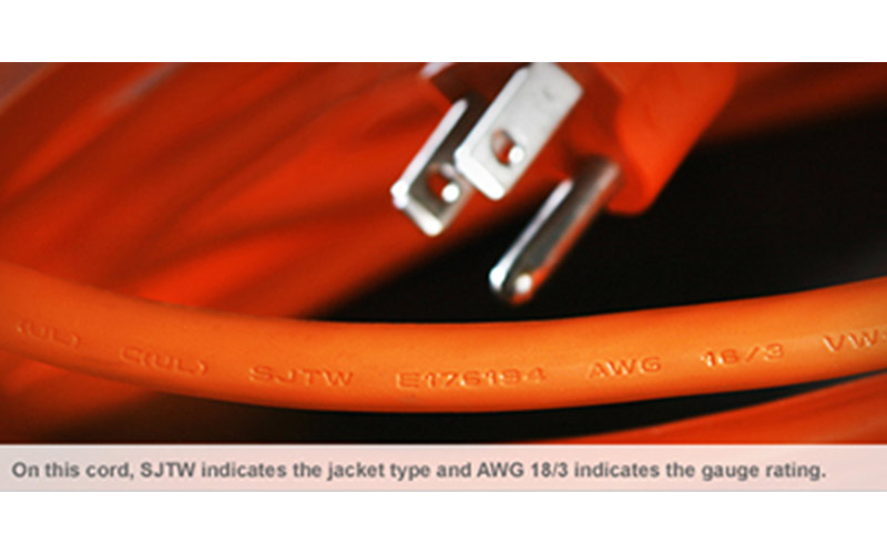 An AWG rating stamped on the jacket of an extension cord.