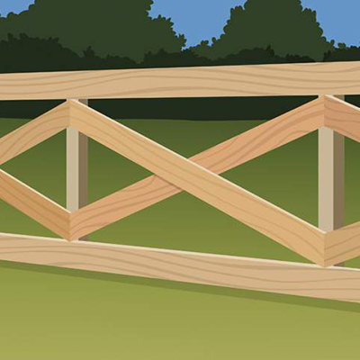 An illustration of a post-and-rail fence.