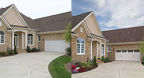 Before and after of a remodeled white classic garage door.