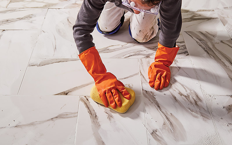 how to grout tile step 4