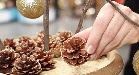 Place pinecones - Make Holiday Branch Tree