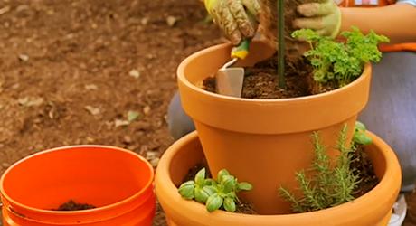 Add soil - Herb Garden Tower Container