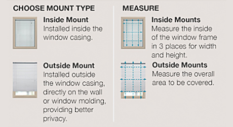 Choose inside outside mount - Cellular Pleated Roman Shades