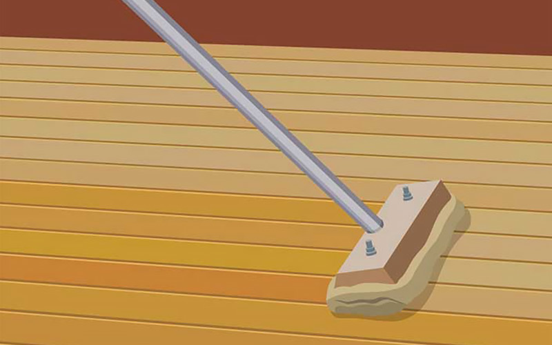 An illustration shows a finish being applied to a hardwood floor.