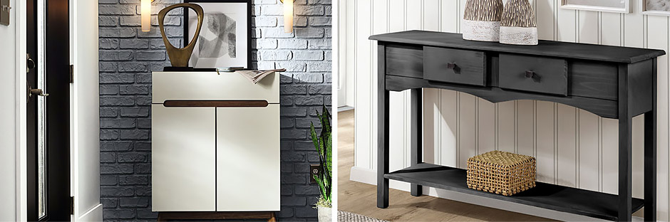 Breaking up a tiny entry space with a console table placed just off the doorway can provide a resting spot for a few items.