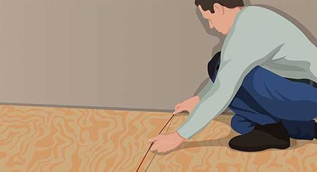 Mark center room - Installing Carpet Tiles