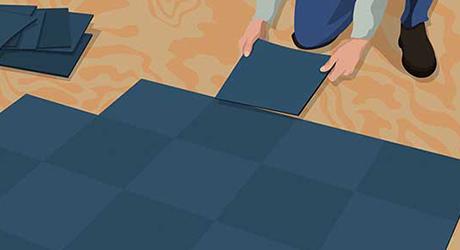 Lay third square - Installing Carpet Tiles