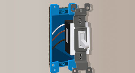 A light switch being wired for line voltage lighting.
