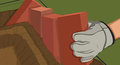 Lay rows bricks trench - Sawtooth Brick Edging