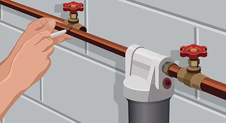 Assemble parts cutting - Installing Whole-House Water Filter