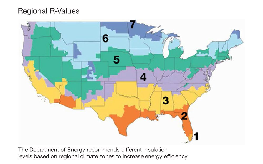 How Insulation Works Map Of The United States Showing Regions With R Values 1 For Southern Florida
