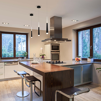 A kitchen with LED lighting