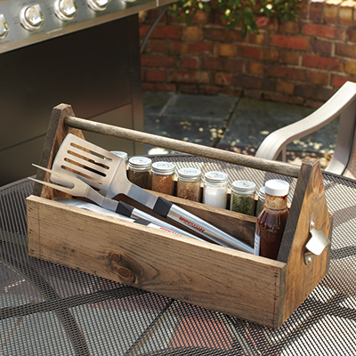 A completed DIY grilling caddy.