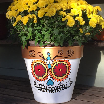 How to Make Sugar Skull Halloween Flower Pots