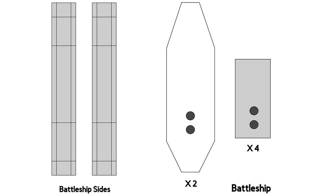 A diagram of the cardboard battleship pieces.