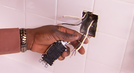 Snip and restrip damaged wire ends - Replacing Electrical Outlet