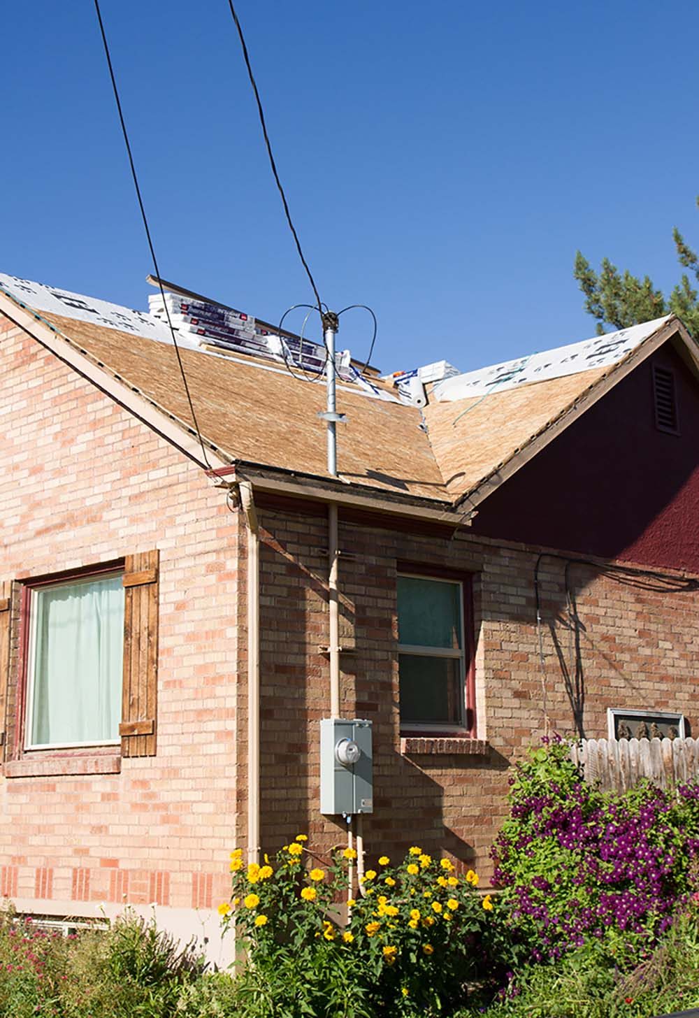 A roof with plywood decking and a water proofing layer.