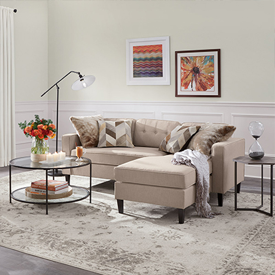 A contemporary living room with a sectional sofa, accent rug and framed art prints on the wall.