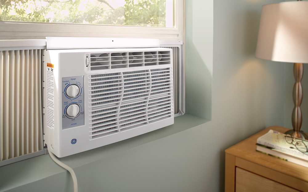 A window air conditioner installed in a window.