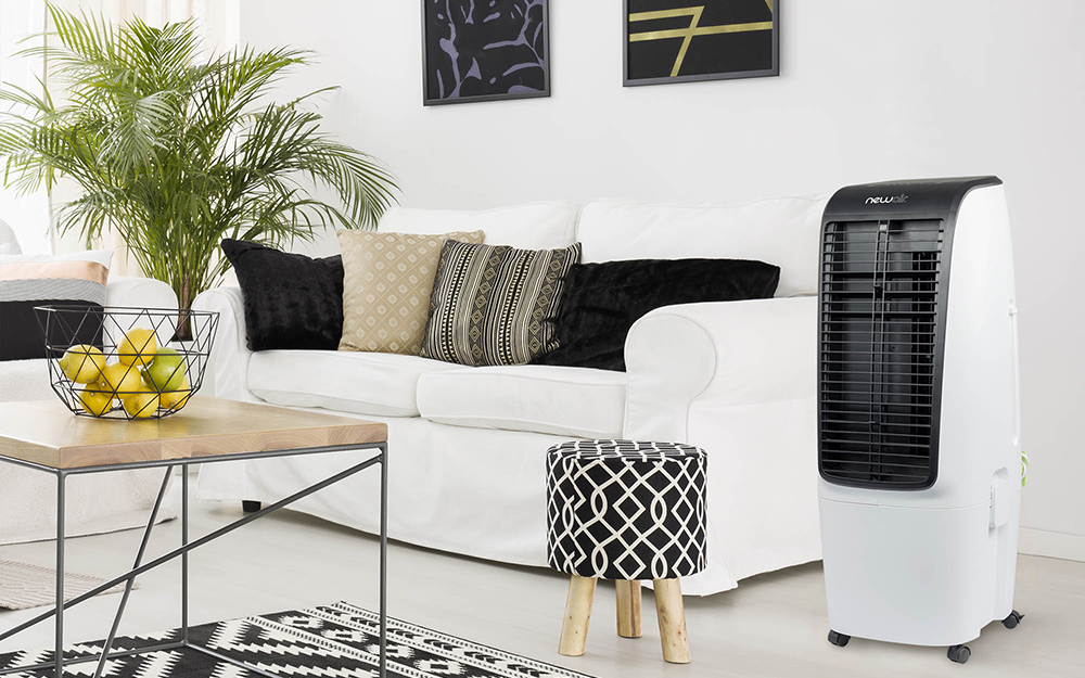 An evaporative cooler in a living room.