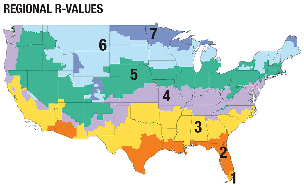 A map of 7 zones used to determine R-values in insulation, with 1 at the tip of Florida and 7 in the farthest north.