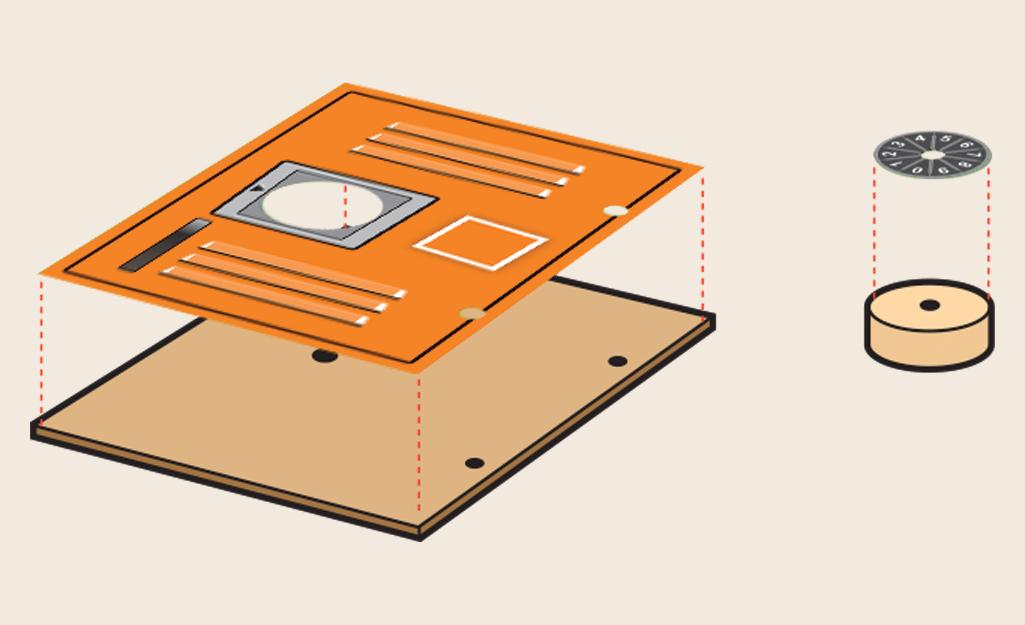 Sơ đồ vị trí đặt các miếng dán trên các miếng gỗ.