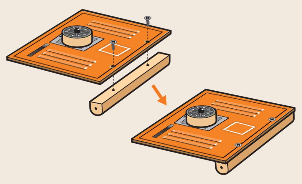 Sơ đồ cho thấy để gắn bản lề gỗ.