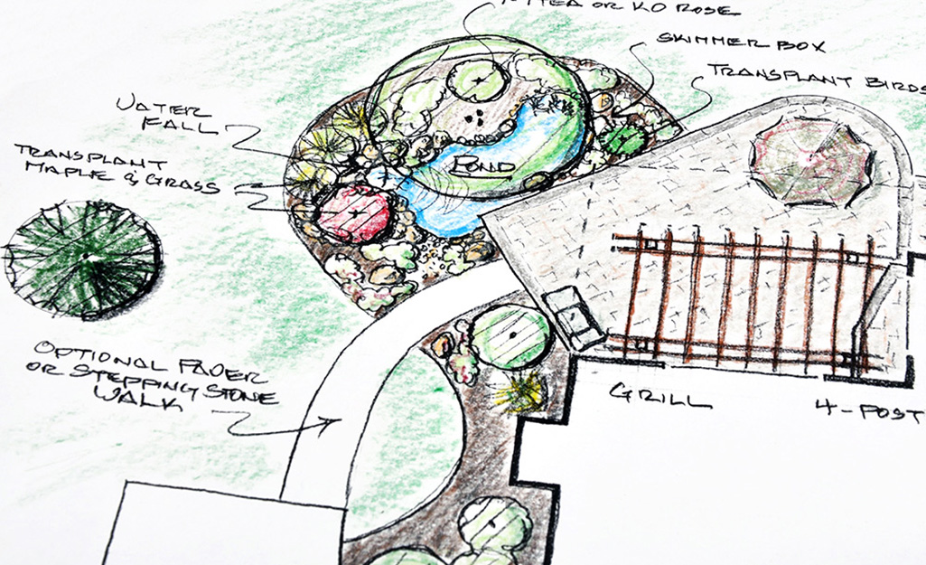 A landscape design sketch for a backyard.