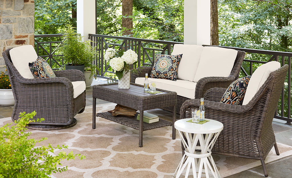 Outdoor furniture group on a patio.
