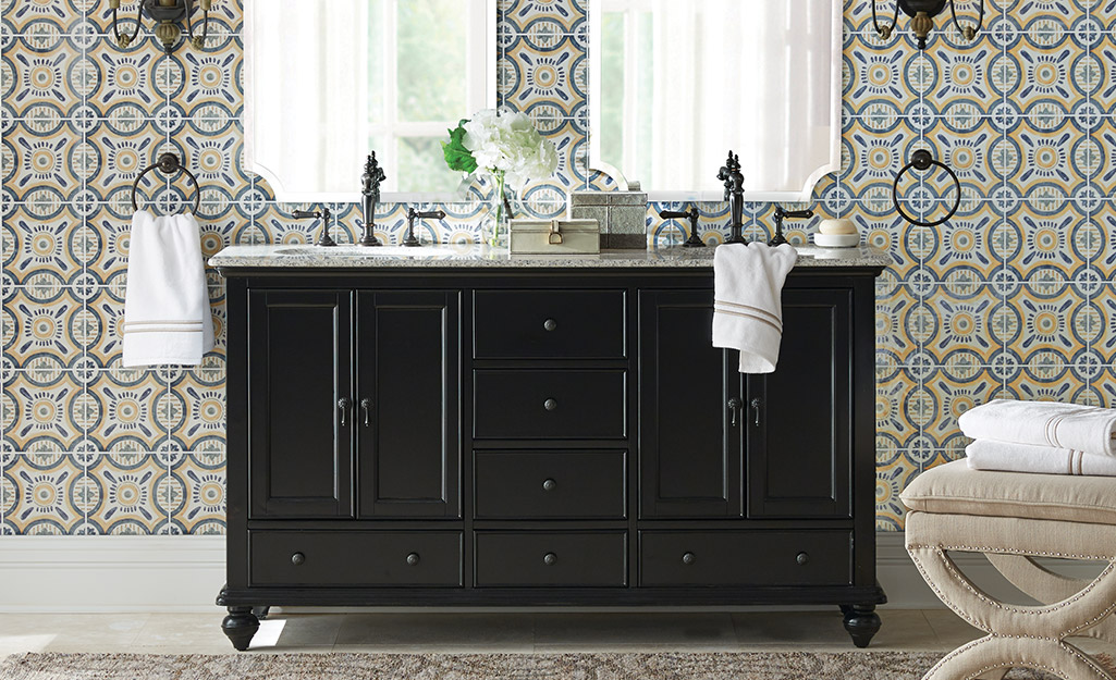 Furniture Style Black Bathroom Vanity In A Voyage