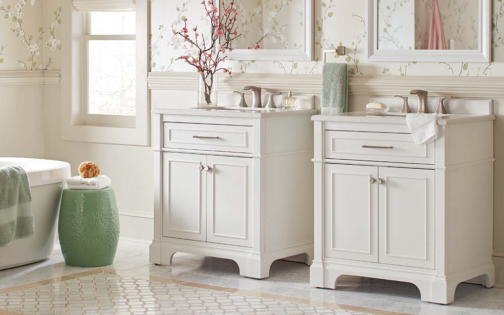 Two single vanities can give ample storage and counterspace . - Types of Bathroom Vanities and Sinks