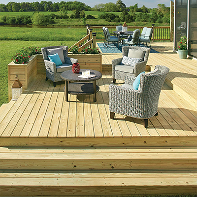 a beautiful deck made with pressure-treated wood