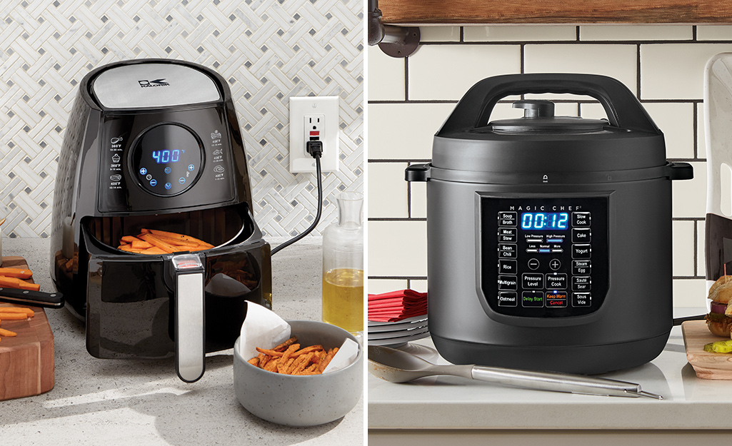 A photo on the left shows an air fryer and a photo on the right shows a convection oven.