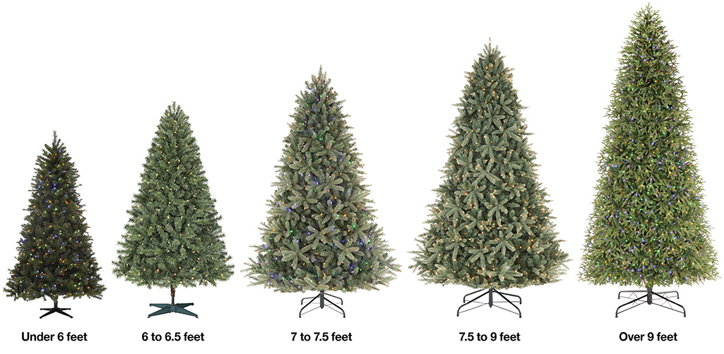 Three artificial Christmas trees ranging from 6 feet to 13 feet in height.
